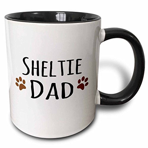 3dRose (mug_153983_4) Sheltie Dog Dad - Shetland Sheepdog - Doggie by breed - brown paw prints - doggy lover pet owner - Two Tone Black Mug, 11oz
