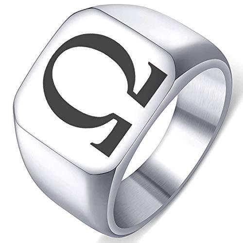 Greek Alphabet Laser Engraved Omega Symbol Letter Stainless Steel Ring Well Polished