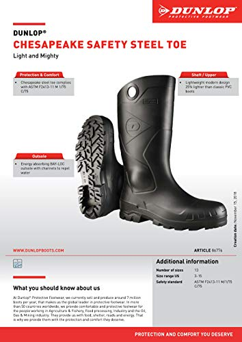 Dunlop 8677611 Chesapeake Boots with Safety Steel Toe, 100% Waterproof PVC, Lightweight and Durable Protective Footwear, Size 11