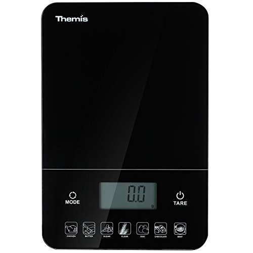 THEMIS TMS1518 Nutrition Calculator Digital Multifunction Kitchen Food Scale, Calorie Calculation, Accurate Electronic Kitchen Scales 1g - 10kg / 0.05oz - 22lbs; Tempered Glass - Black