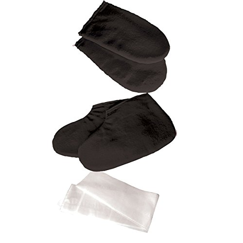 Deo Paraffin Wax Manicure Pedicure Mitts Booties Treatment Cotton Hands Feet Liners Protectors BLACK