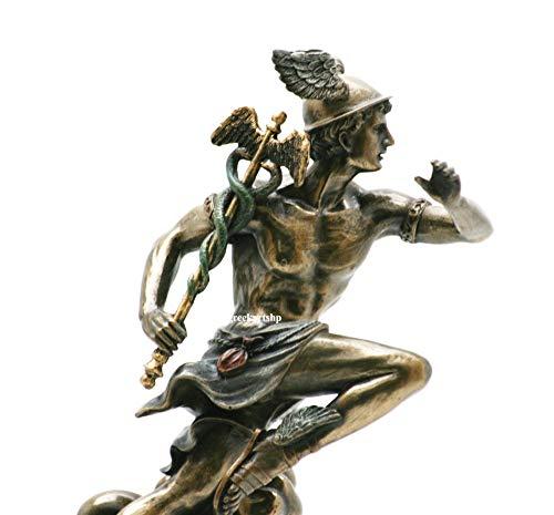 Veronese Hermes Mercury Greek Roman God Statue Sculpture Bronze Finish 8.27in / 21 cm