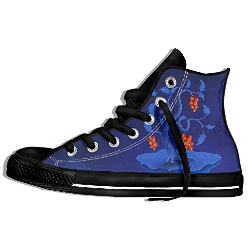 Classic High Top Sneakers Canvas Shoes Anti-Skid Christmas Gifts Casual Walking For Men Women Black DB7xtoEc