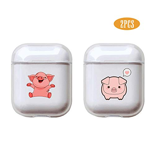 Pig 2 Pcs Clear Hard Plastic Case Full Protective Cover Skin Compatible with AirPods 2 & 1