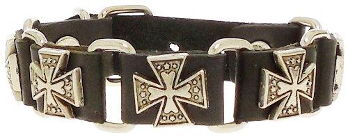 Bracelet - Black Leather Silver Tone Iron Crosses Link Bracelet - Kiki's Five Iron Crosses