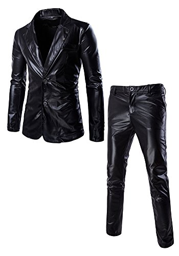 JKQA Men's Metallic Slim Fit Casual Blazer Jacket 2 Piece Outfit Suit (XL, Black) (Holo 2 Costumes)