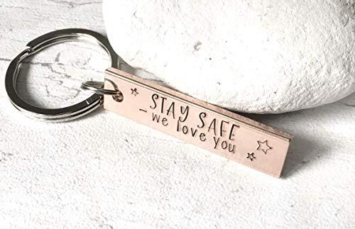 48a96a0b1b22 Handstamped copper Stay Safe keyring