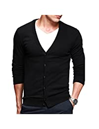 IVANNIE Men's Basic Long Sleeve Button Down V Neck Knitted Cardigan