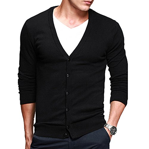 Men's Basic Long Sleeve Button Down V Neck Knitted Cardigan Black Tag L – US S