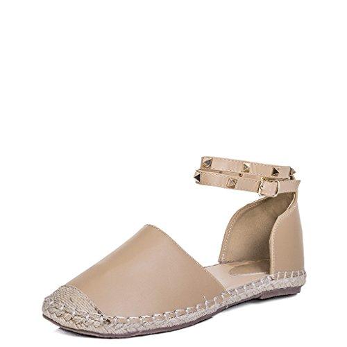 tachuelas beige de con Estilo ARABELL Sandalias Spylovebuy para cuero mujer Zapatos planas OSqHgxnwt