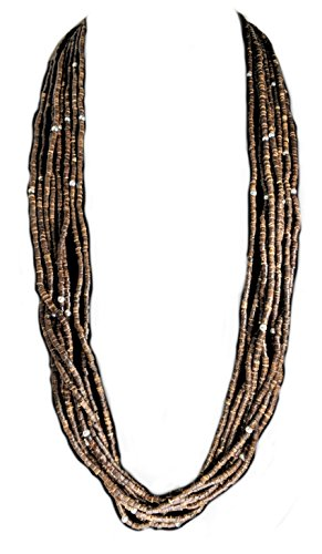 Gift Boxed   Coldwater Creek Brown Wood Bead Necklace With Silver Accents