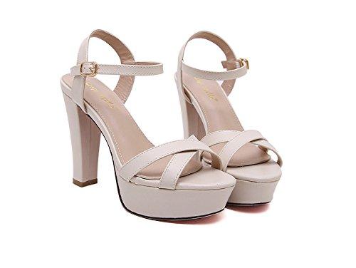 RUGAI-UE Zapatos de mujer, verano Sandalias de tacón alto europeas y americanas, sandalias, dedos de los pies, tablas impermeables, mujeres Apricot color