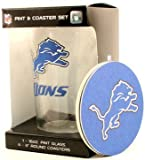 Detroit Lions NFL 16 Oz. Pint Glass & 4 Piece Coaster Set