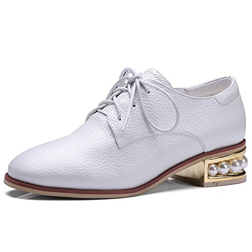 Nine Seven Leather Women's Round Toe Exquisite Chunky Heel Pearls Lace Up Handmade Oxfords Shoes (7, white)