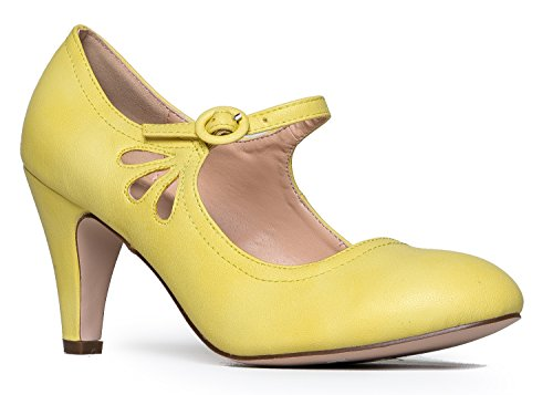 Suede Pumps Vintage (Kitten Heels Mary Jane Pumps By Zooshoo- Adorable Vintage Shoes- Unique Round Toe Design With An Adjustable Strap,Lemon,9 B(M) US)