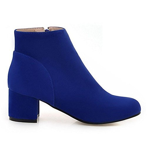 Fashion Women Blue Heel Booties Block Coolcept Sax7TwqzHH