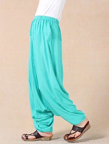 MatchLife Mujer Nuevo Suelta Dobladillo Plain harén pantalones M002-Turquoise(Fit UK 4-18)