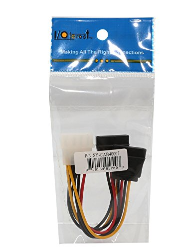 Syba SY-CAB40007 Molex 4 Pin to 2x 15 Pin SATA Power Cable (5.5 Inches)