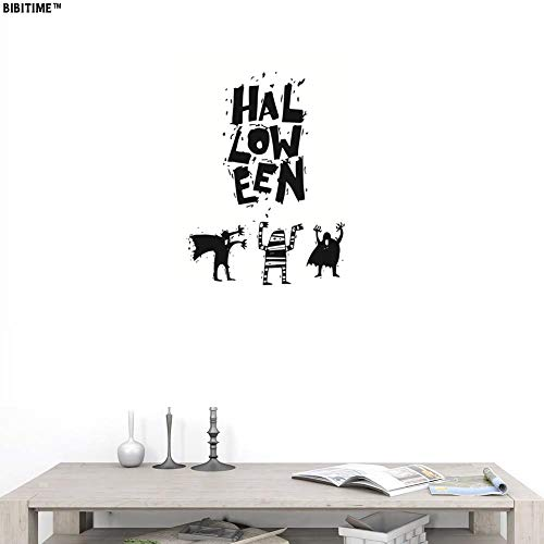 BIBITIME Halloween Wall Decal Quotes Sign Vinyl Sticker Ghost Mummy Horrible All Saints' Day Hallowmas Party PVC Decorations for Living Room Porch Front Door Cafe Store Shop Window Sticker -