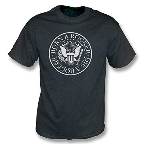 TshirtGrill Getragen einem Rocker sterben ein Rocker - Weinlese-Wäsche-T-Shirt, Farbe- Schwarzes