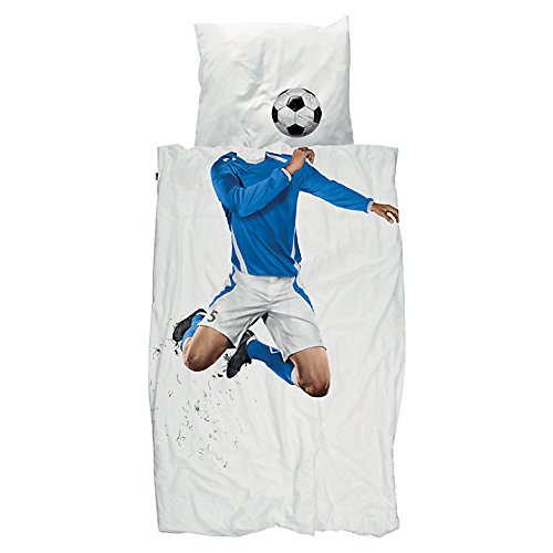 Snurk UK Size Bed Linen Duvet and Pillowcase, Football Soccer Blue