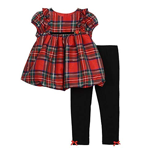 Sleeve Puff Girls Top - Pastourelle by Pippa & Julie Baby Girls Puff Sleeve Top and Legging Clothing Set, Christmas Red Plaid, 12M