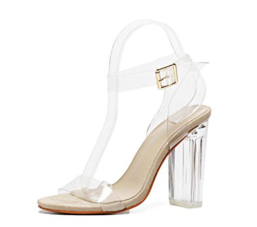 GLTER Mujeres Ankle Strap Bombas Tacones Altos Word Open-Toed Pasarela Show Crystal Shoes Transparente Thick Shoes Sandalias al aire libre champagne