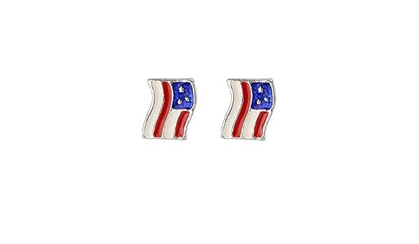 GiftJewelryShop Bronze Retro Style American flag bald eagle Photo Stud Heart Earrings #12