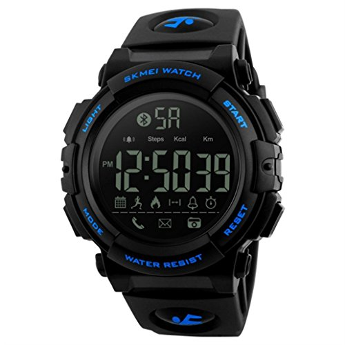 Price comparison product image Boofab Bluetooth Digital Smart Sports Watch Blue With Health Fitness and Sport Activity Tracker Compatible with IOS,  Android,  Apple iphone 7,  3G,  4G Smart Phones,  All Mobiles (Blue)