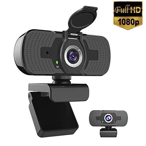🥇 iAmotus Webcam 1080P Full HD con Micrófono Incorporado y Cubierta de Privacidad Cámara Web Mini USB Plug Play Webcam para Video Chat y Grabación
