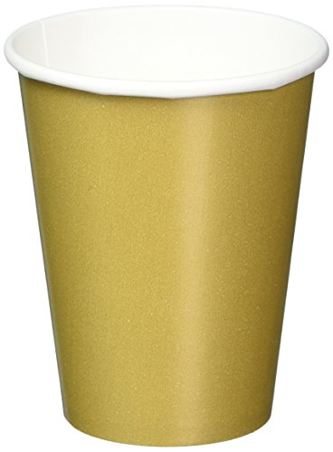Disposable Party Paper Cups Tableware, Gold, Paper , 9oz., Pack of 8
