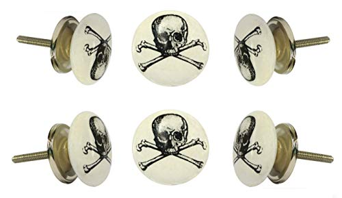 (Trinca Ferro Set of 6 Ceramic Pirate Cabinet Drawer Knob Cupboard Dresser Pull)