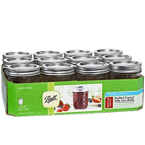 Ball Quilted Crystal Jelly Jar with Lid and Band, Regular Mouth, 8 Ounces, 12 Count -