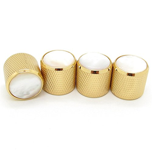 Gold Volume Tone Control Metal Knob w/Pearl White Top for Guitar Bass Pack of 4