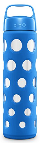 Ello Pure Glass Water Bottle with Silicone Sleeve, Cobalt Fizz, 20 oz