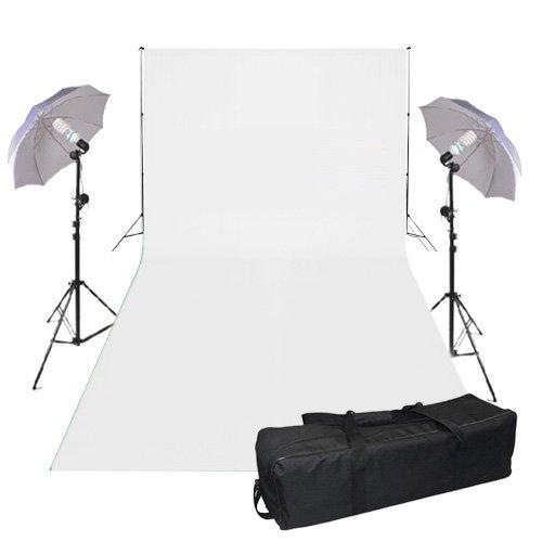 2X 625W 5500K Lamp 3m x 6m White Backdrop Continuous light Bulbs + 2.8m x 3m Adjustable Background Stand + 2x 33' Umbrella Kit + Carry Bag --Lighting Photography Kit-Photo Studio Background Screen Kit