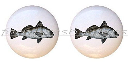 SET OF 2 KNOBS - Black Drum - Realistic Fish - DECORATIVE Glossy CERAMIC Cupboard Cabinet PULLS Dresser Drawer KNOBS