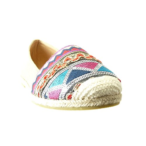 Angkorly Women's Fashion Shoes Espadrilles Mocassins - Slip-on - Sneaker Sole - Embroidered - Glitter - Fantasy Flat Heel Green X55CHBH