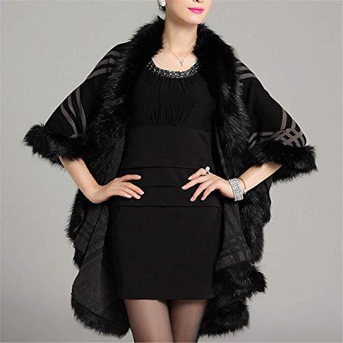 Automne Hiver Fourrure Mode Coat Photo Couleur7 Manteau Élégant Cape Longue Robe Chaud Laine Fanessy En Femme Beige Poncho Noir Châle Trenche Veste Grande Blouson Taille RqPwP1HW