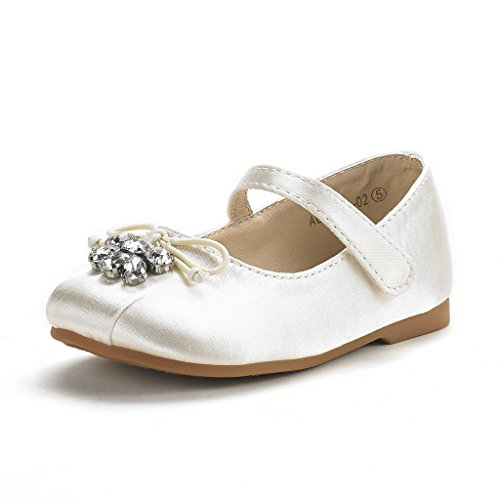 DREAM PAIRS Little Kid Aurora-02 Ivory Satin Girl's Mary Jane Ballerina Flat Shoes Size 1 M US Little Kid