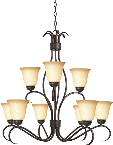 Maxim 10128WSOI Basix 9-Light Chandelier, Oil Rubbed Bronze Finish, Wilshire Glass, MB Incandescent Incandescent Bulb , 60W Max., Dry Safety Rating, Standard Dimmable, Opal Glass Shade Material, Rated Lumens