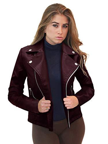 Olivia Miller Womens Faux Leather Zip Up Moto Biker JK5208 Burgundy S