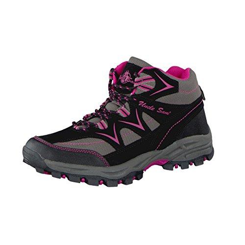 HSM - Botas de senderismo para mujer gris/rosa