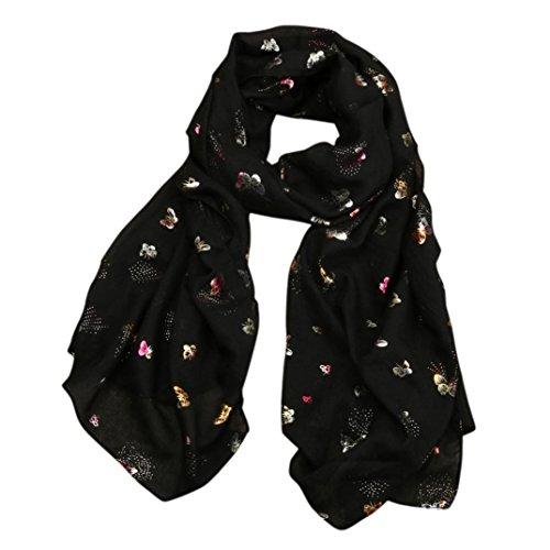 Scarf,Han Shi Women Fashion Allover Butterfly Print Long Wrap Shawl Pashmina Stole Scarves (L, Black)