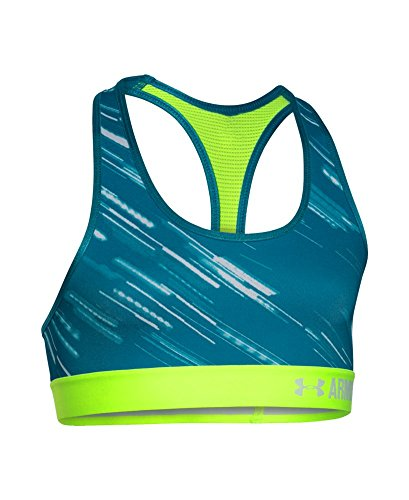 Under Armour Girls' HeatGear Armour Printed Sports Bra, Teal Blast (932), Youth - Blast Youth