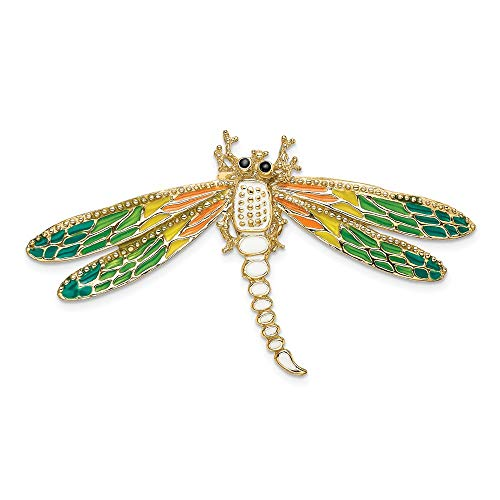 - 14k Yellow Gold Multi Color Enamel Dragonfly Pendant Charm Necklace Slide Chain Insect Fine Jewelry Gifts For Women For Her