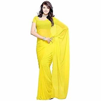 b098da26bf Image Unavailable. Image not available for. Colour: Mansavi Women's Lemon  Yellow Color Georgette Plain Saree ...