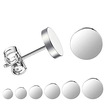 LIEBLICH Silver Round Stud Earrings Set Stainless Steel Ear Studs Men Women 6 Pairs 3mm-8mm … (Silver)