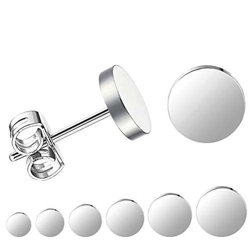 LIEBLICH Silver Round Stud Earrings Set Stainless Steel Ear Studs for Men Women 6 Pairs 3mm-8mm ... (Silver)