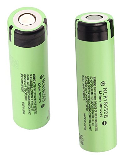 2PCS Panasonic 18650 NCR18650B Rechargeable Li-ion Battery, Flat Top 3.7V 3400mAh, BONUS One Hard Plastic Case For Easier Storage and Transport